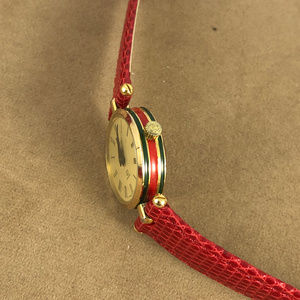 Gucci Accessories - Vintage Gucci Gold Plated Watch Red Lizard Strap